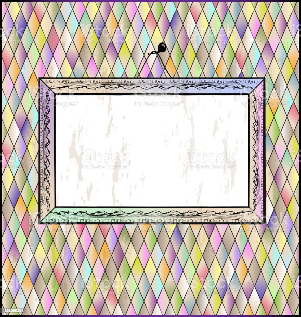 romb background with abstract frame vector art illustration
