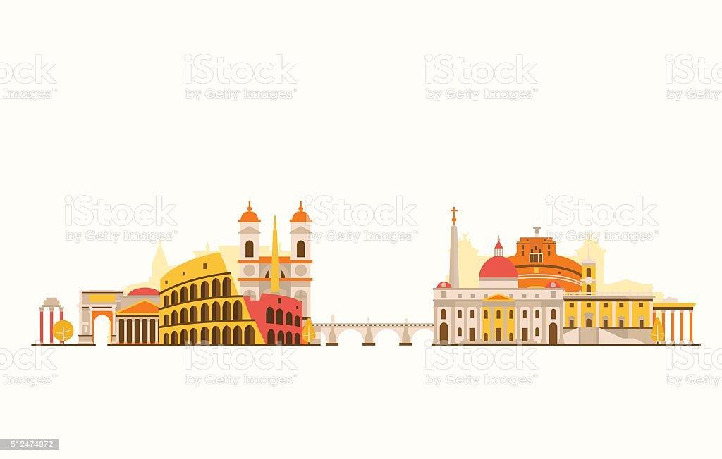 Rome abstract skyline vector art illustration