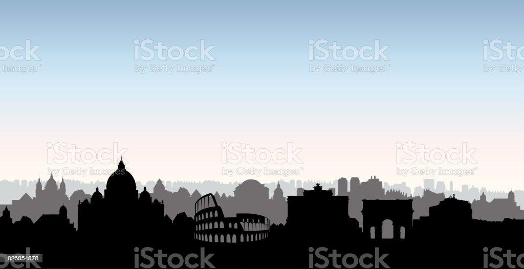 Silhueta de edifícios de cidade Roma. Paisagem urbana italiana. Paisagem urbana de Roma com Marcos. Viagens Itália horizonte plano de fundo. Férias no papel de parede de Europa. - ilustração de arte em vetor