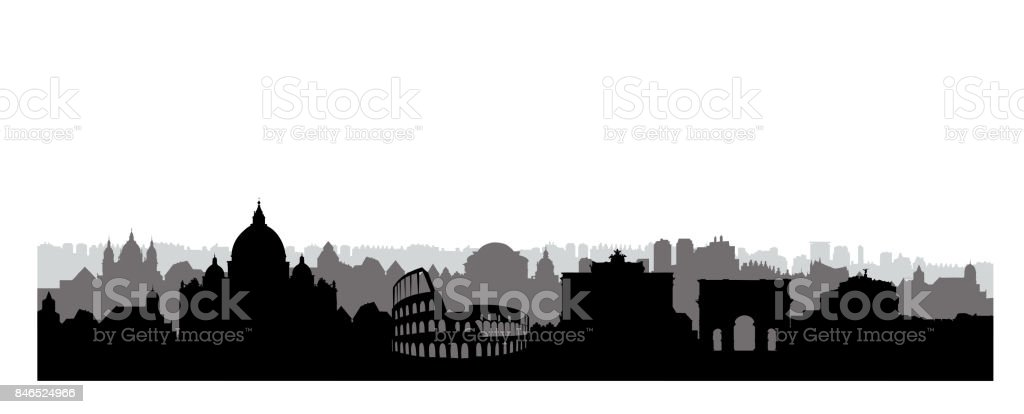 Rome city buildings silhouette. Italian urban landscape. Rome cityscape with landmarks. Travel Italy skyline background. Vacation in Europe wallpaper. vector art illustration