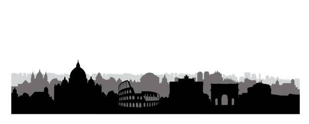 illustrations, cliparts, dessins animés et icônes de silhouette de rome ville bâtiments. paysage urbain italien. cityscape rome avec points de repère. voyage en arrière-plan skyline italie. vacances en fond d'écran de europe. - rome