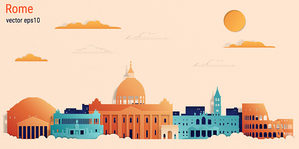 Rome city colorful paper cut style, vector stock illustration