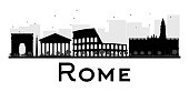 Rome City skyline black and white silhouette.