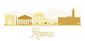 Rome City skyline golden silhouette.