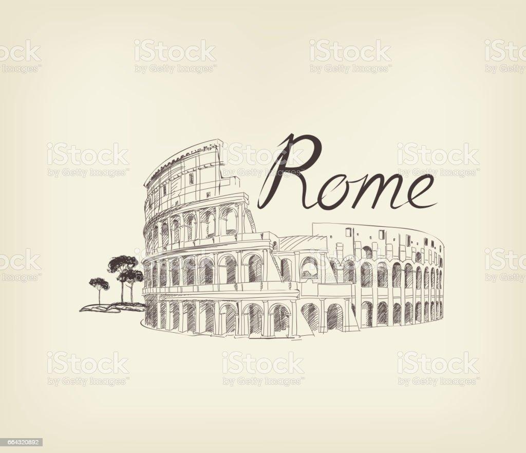 Rome city view. Landmark Coliseum sign. Travel Italy background vector art illustration