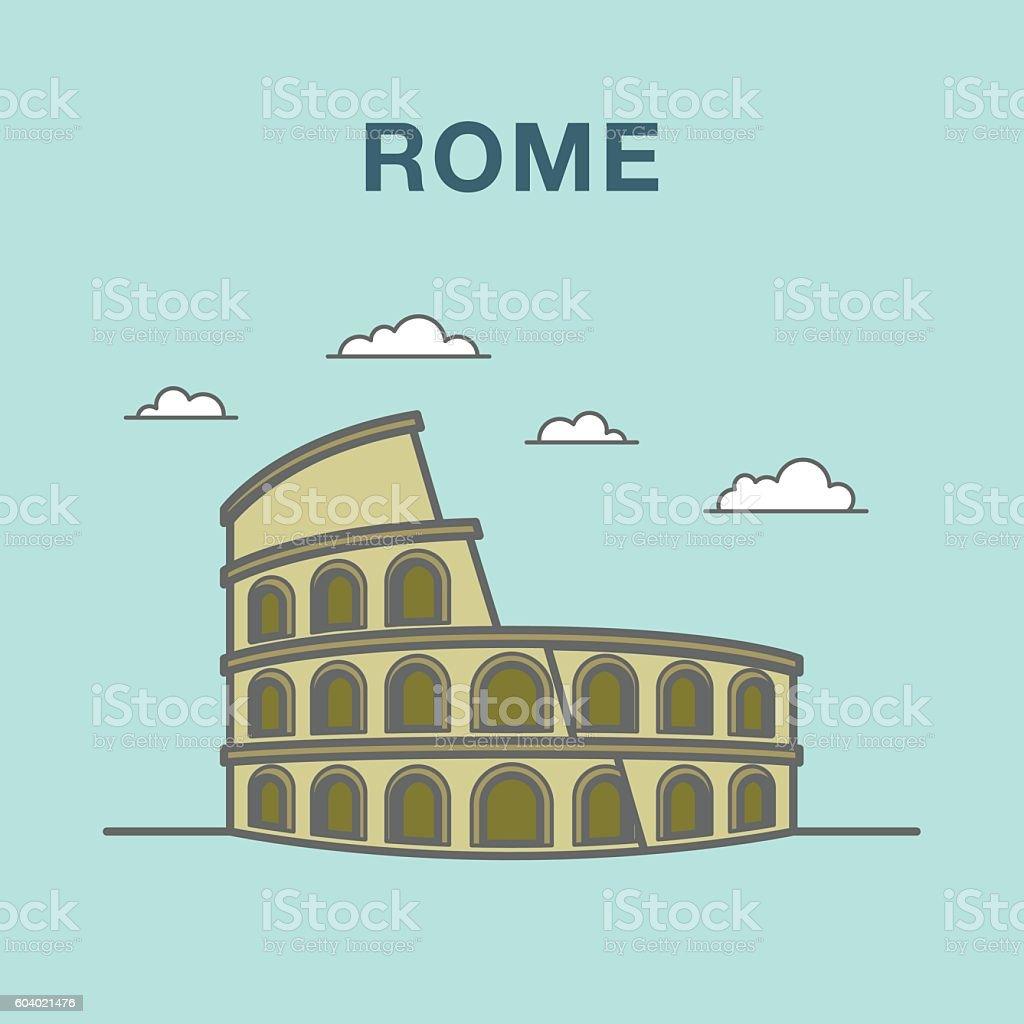 Rome colosseum flat illustration vector art illustration