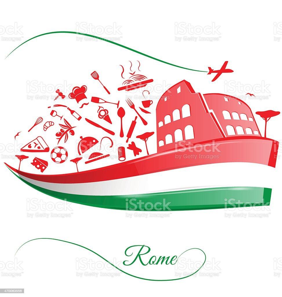 rome colosseum  on italian flag vector art illustration