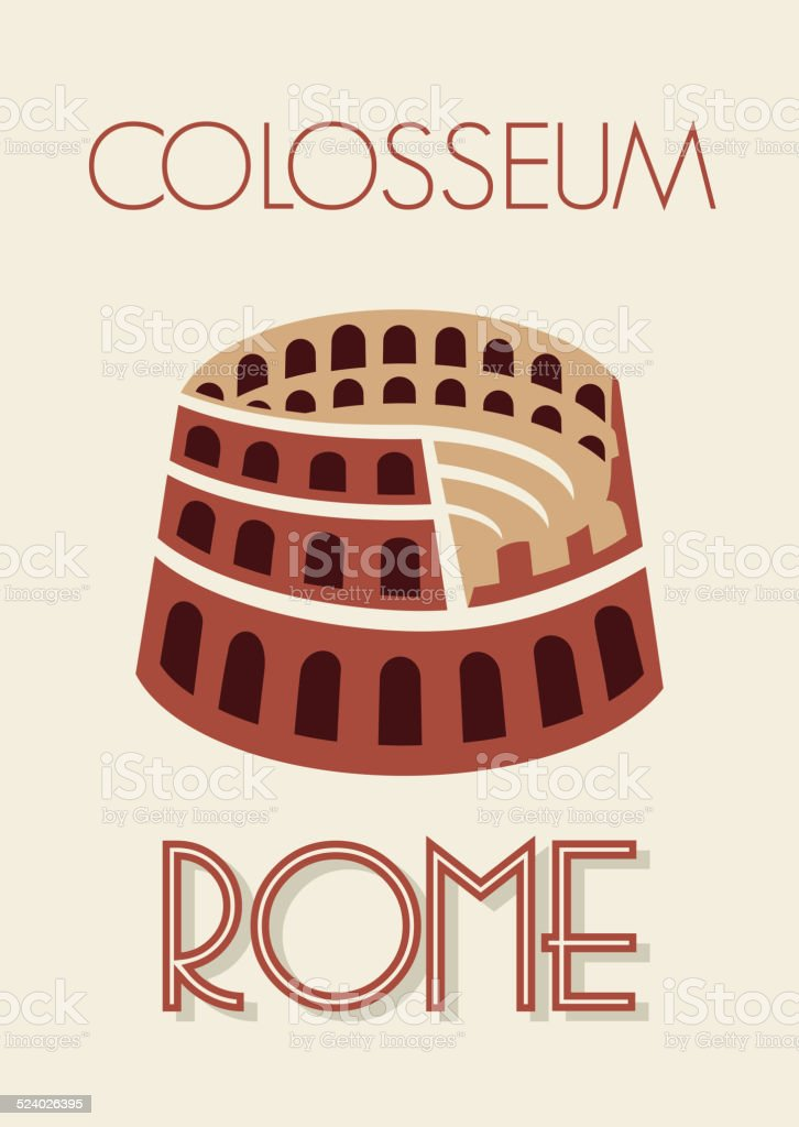 Rome colosseum poster vector art illustration