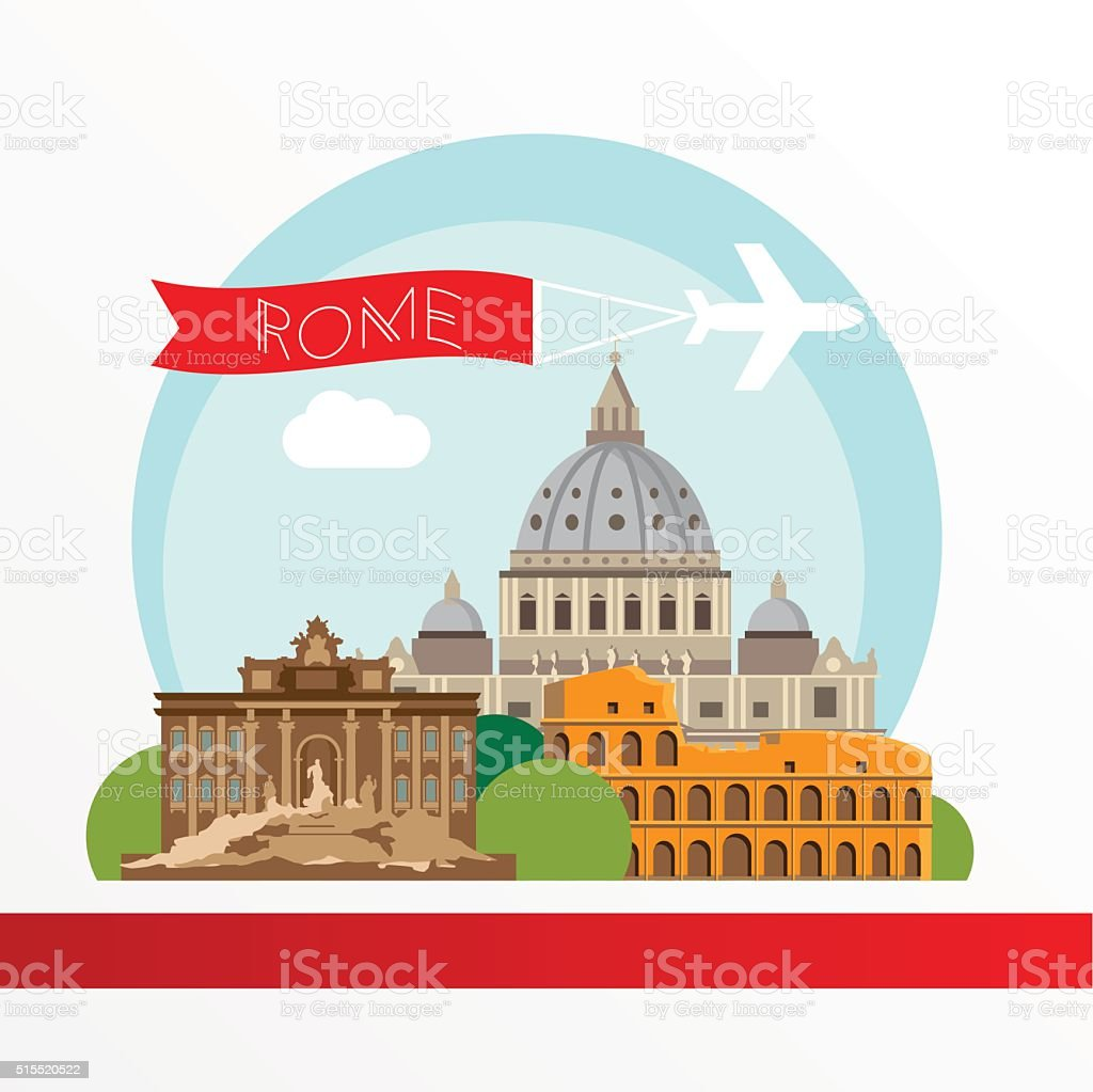 Rome detailed colorful silhouette. vector art illustration