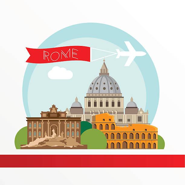 illustrations, cliparts, dessins animés et icônes de rome silhouette détaillée de couleur. - rome