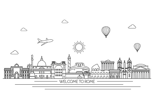 Rome detailed skyline. Travel and tourism background.  Line art style