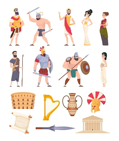 Rome elements. Cultural ancient traditional objects and architectural constructions historic characters coliseum warriors and rome citizens exact vector collection