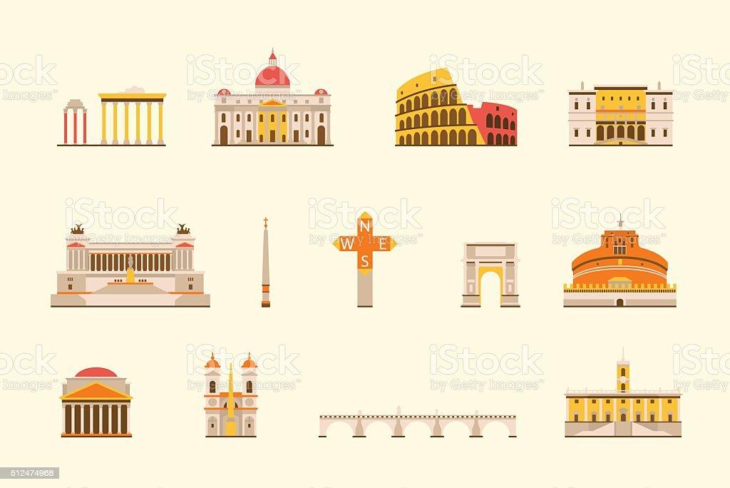 Rome historical building vector art illustration