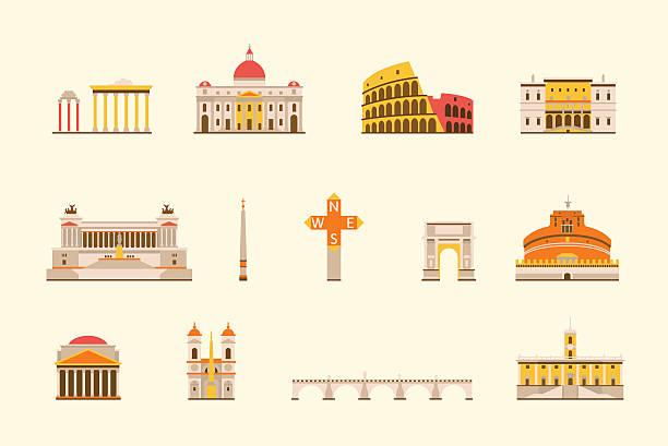 illustrations, cliparts, dessins animés et icônes de bâtiment historique de rome - rome