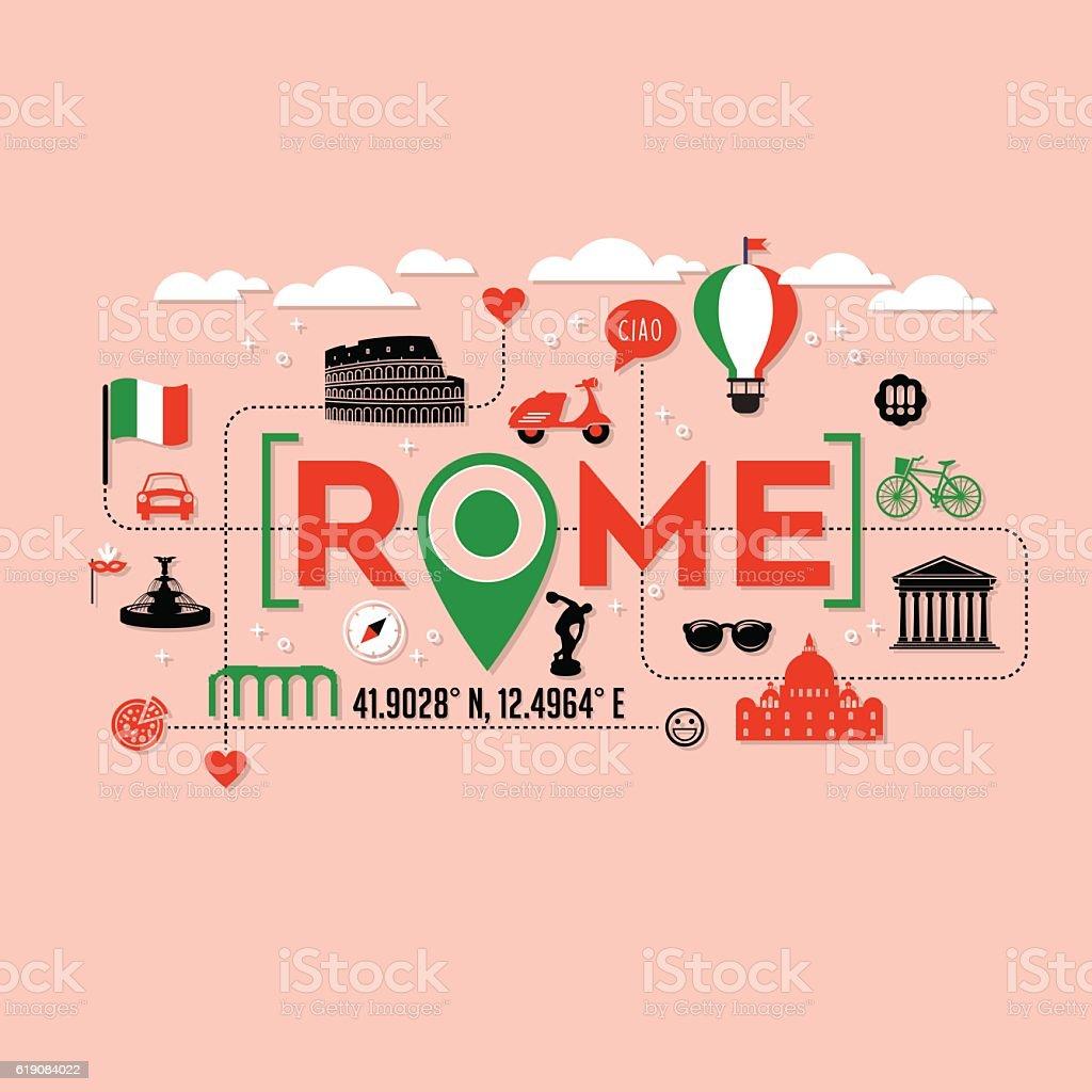 Rome Italy icons and typography design for banners, t-shirts and posters - ilustração de arte em vetor