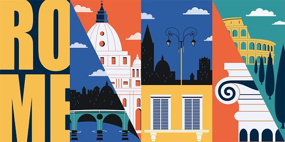 Rome, Italy vector banner, illustration. City skyline, historical buildings in modern flat design style. Italian ancient landmarks.