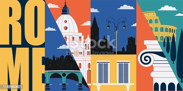 Rome, Italy vector banner, illustration. City skyline, historical buildings in modern flat design style. Italian ancient landmarks.