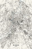 Poster Style Topographic / Road map of Rome, Italy. Original map data is open data via © OpenStreetMap contributors