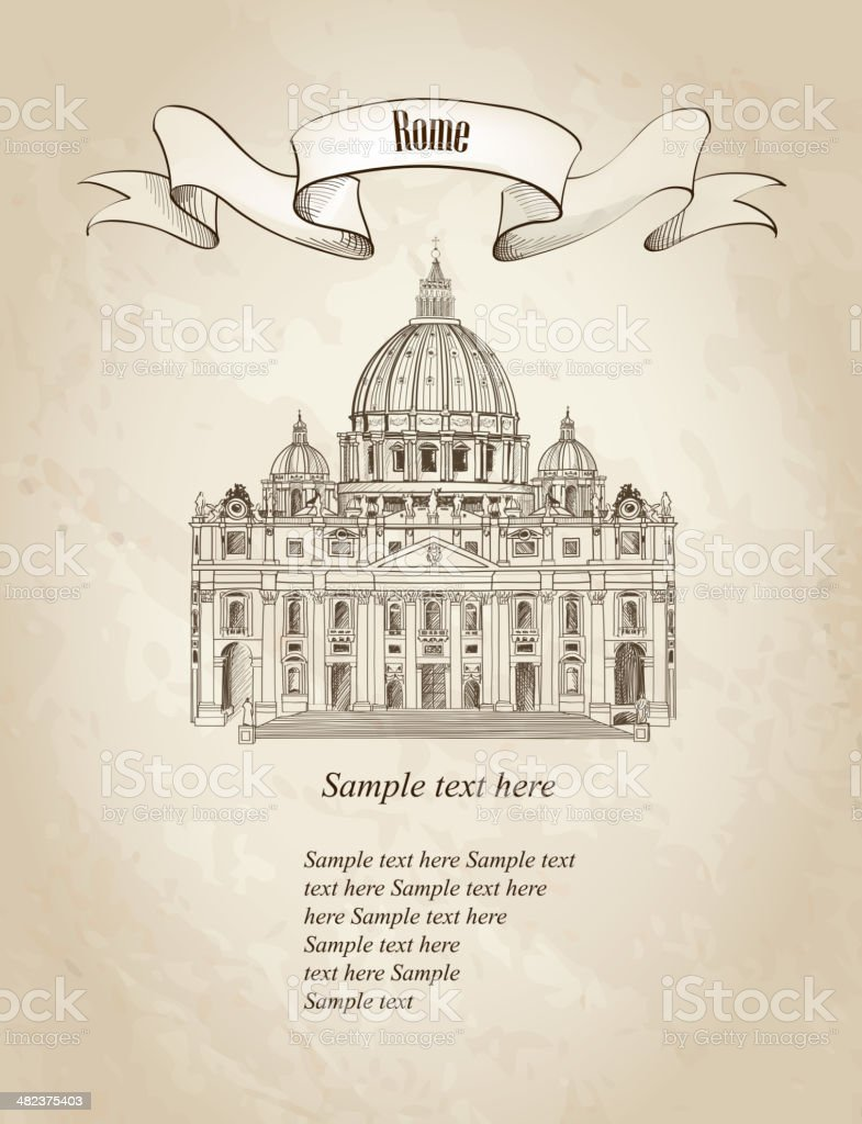Rome landmark over old paper background. St. Peter's Cathedral, Rome, Italy. vector art illustration
