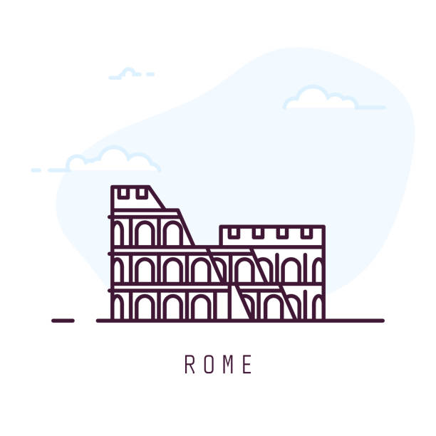 Rome line style colosseum Rome city line style illustration. Colosseum famous landmark in Rome. Architecture city symbol of Italy. Outline building vector illustration. Sky with clouds on background. Travel and tourism banner. coliseum rome stock illustrations