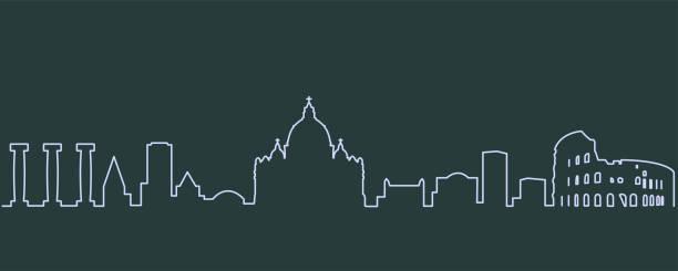 illustrations, cliparts, dessins animés et icônes de rome seule ligne skyline - rome
