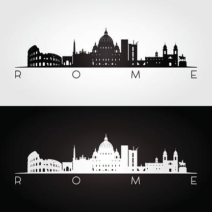 Rome skyline and landmarks silhouette