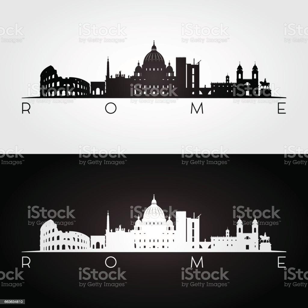 Rome skyline and landmarks silhouette vector art illustration