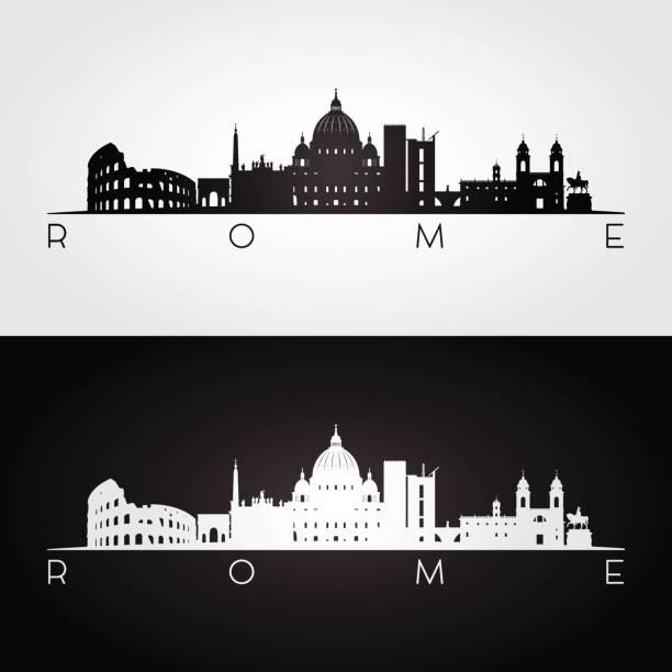 illustrations, cliparts, dessins animés et icônes de silhouette de toits et les monuments de rome - rome