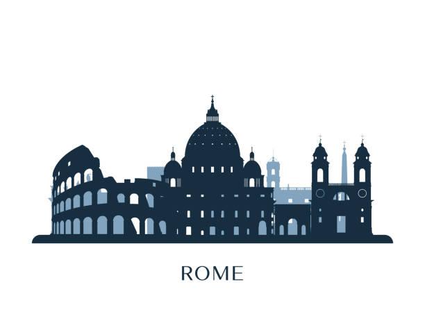 illustrations, cliparts, dessins animés et icônes de toits de rome, silhouette monochrome. illustration vectorielle. - rome