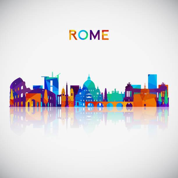 illustrations, cliparts, dessins animés et icônes de silhouette skyline de rome dans un style géométrique coloré. symbole de votre conception. illustration vectorielle. - rome