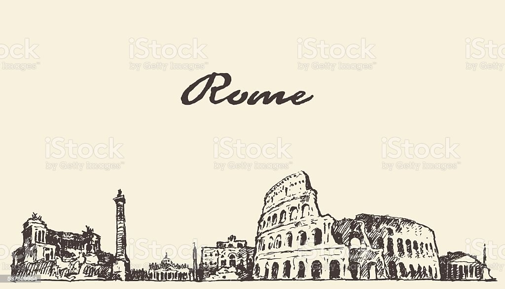 Rome skyline vintage illustration drawn sketch vector art illustration