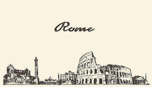 illustrations, cliparts, dessins animés et icônes de panorama de rome vintage esquisse illustration dessinée - rome