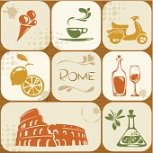 A set of Rome themed icons/images.