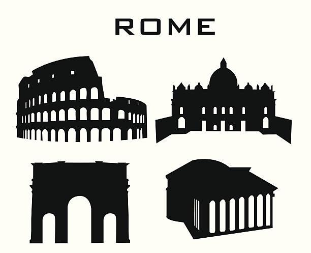 rome silhouette of buildings rome coliseum rome stock illustrations