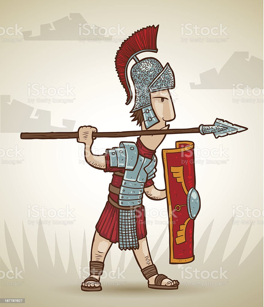 Rome warrior exercising with spear royalty-free stock vector art