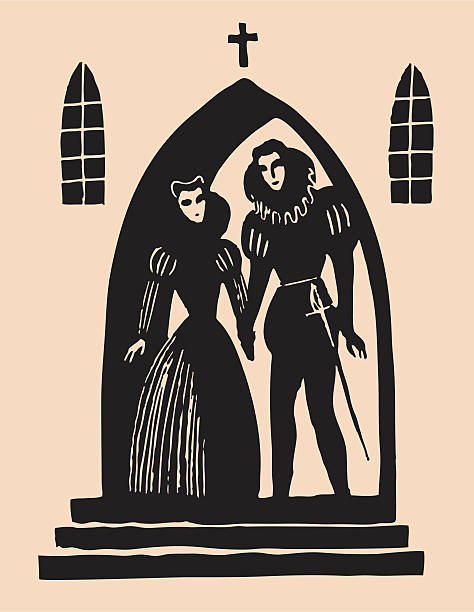 romeo and juliet secret alter etching - romeo and juliet stock illustrations, clip art, cartoons, & icons