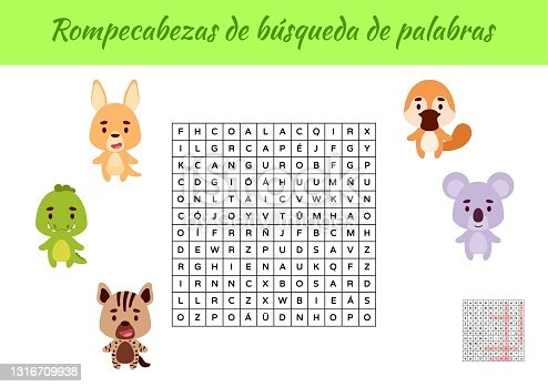 istock Rompecabezas de búsqueda de palabras - Word search puzzle. Educational game for study Spanish words. Kids activity worksheet colorful printable version with answers. Vector stock illustration 1316709938