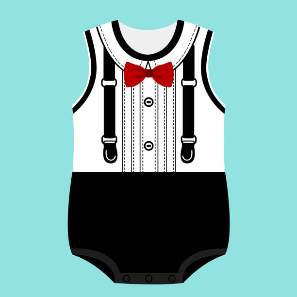 strampler. kinder smoking. - bodysuit stock-grafiken, -clipart, -cartoons und -symbole