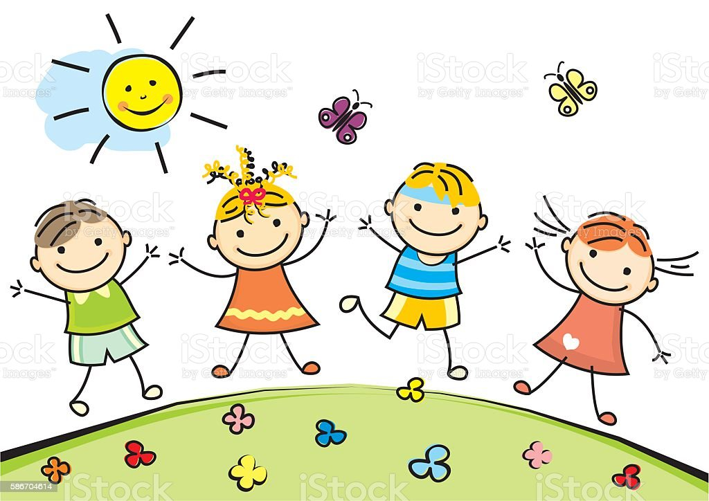 royalty free drawing of the little girl skipping clip art, vector