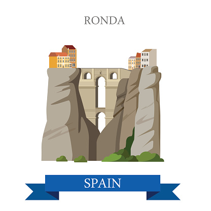 Ronda Bridge over El Tajo Canyon in Malaga Andalusia Spain. Flat cartoon style historic sight attraction web vector illustration. World countries cities vacation travel sightseeing collection.