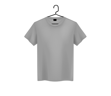 ront view of men's gray t-shirt Mock-up on metal hanger and light background. Short sleeve T-shirt template on background.