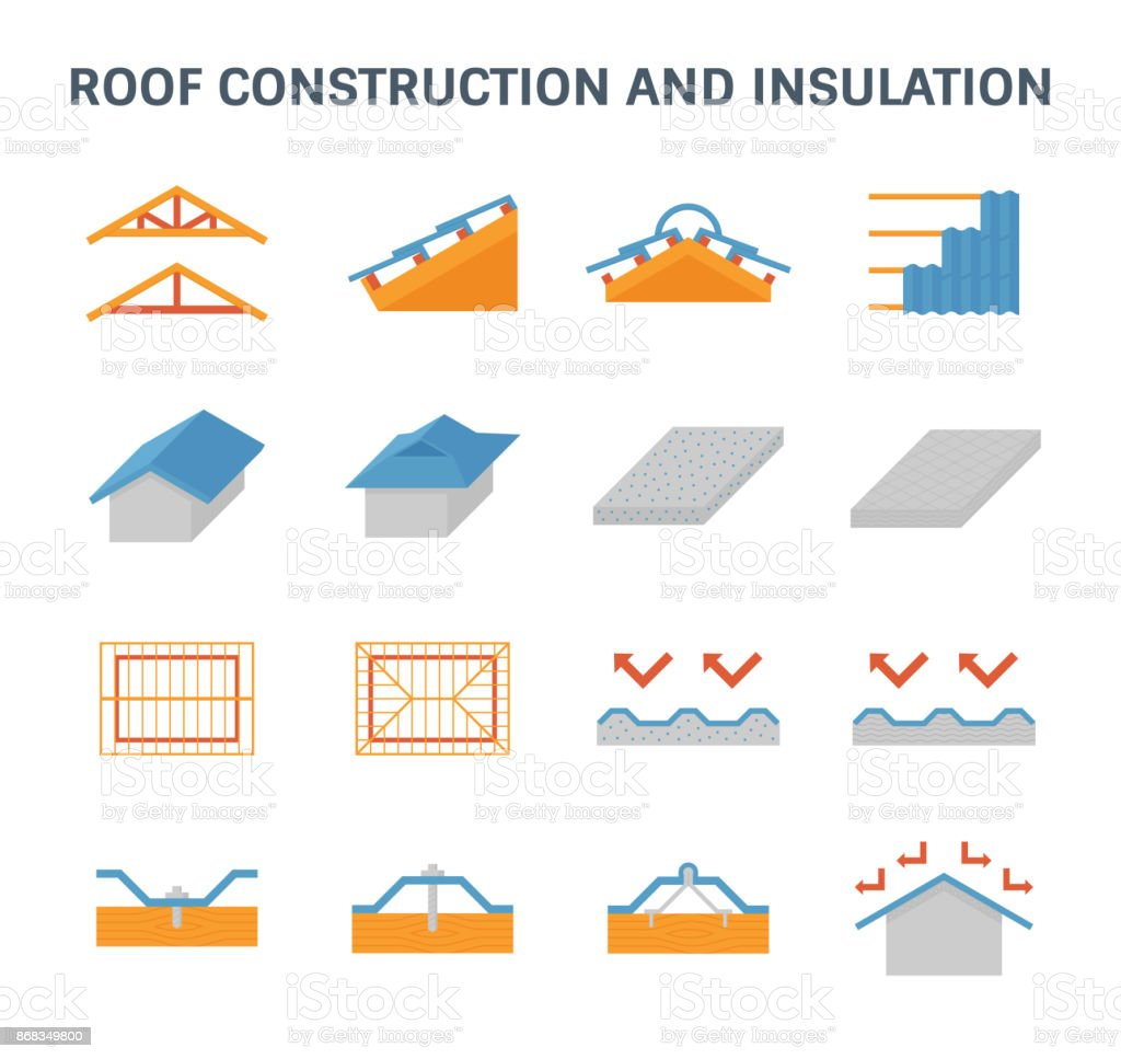 roof construction icon vector art illustration