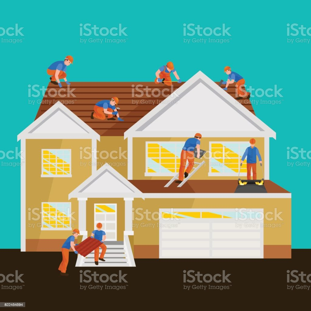 roof construction worker repair home, build structure fixing rooftop tile house with labor equipment, roofer men with work tools in hands outdoors renovation residential vector illustration vector art illustration