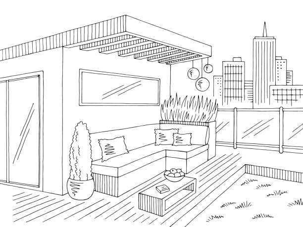 dachgarten grafik schwarz weißen stadtlandschaft skizze abbildung vektor - gartensofa stock-grafiken, -clipart, -cartoons und -symbole