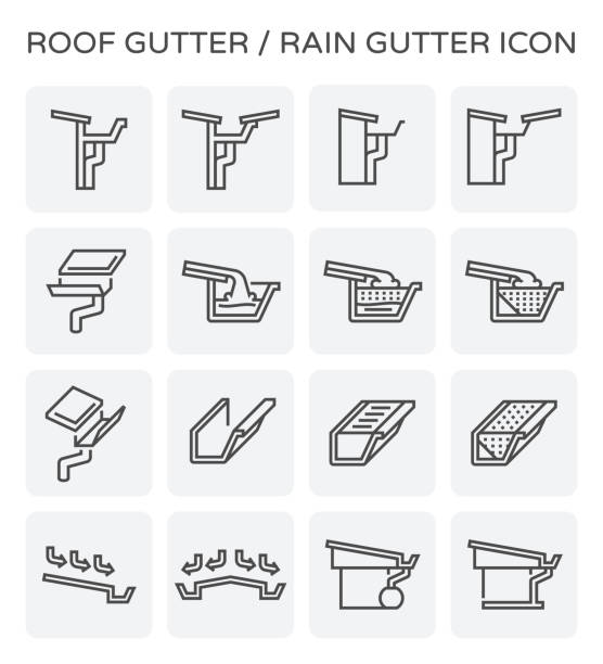 roof gutter icon - карниз stock illustrations