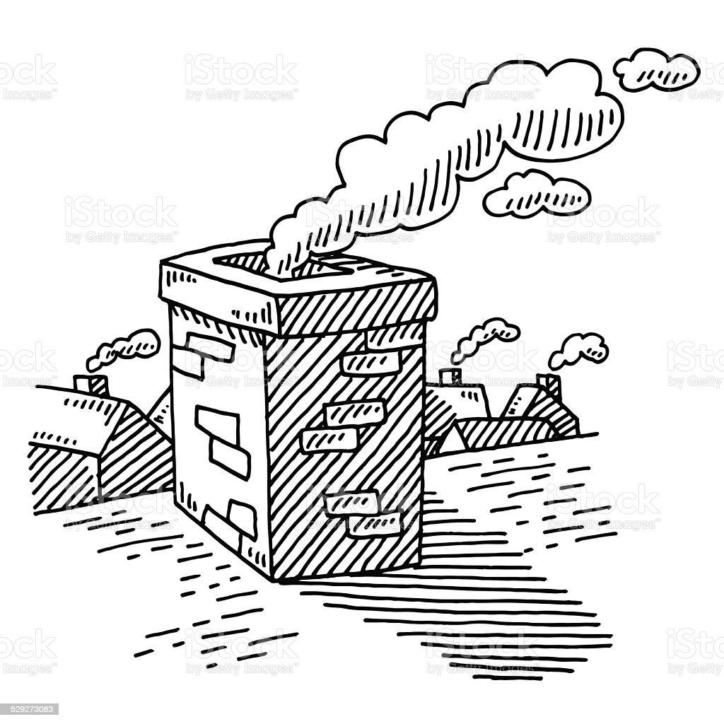 Roof Smoking Chimney Drawing Stock Illustration Download