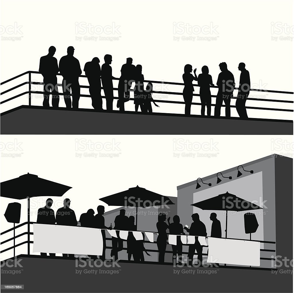 Roof Top Party Vector Silhouette vector art illustration