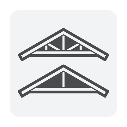 Roof truss icon. Also call wooden roof framing. That for house or property building assembly of beam to creates rigid structure used for support roofing materials. Vector illustration design icon.