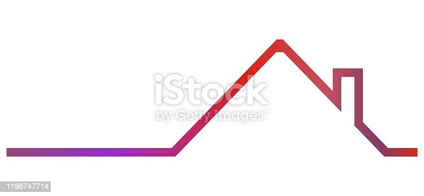 istock roof with smokestack, neon vector icon 1195747714