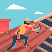 istock Roofer repair roof covering on house. Vector cartoon man with screwdriver character illustration. 1143296901